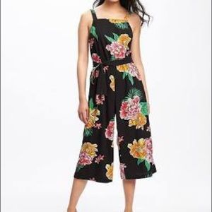 Linen floral cropped flare jumpsuit